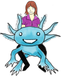 Cartoon representation of me majestically riding a giant axolotl.