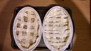 Leek, chicken and mushroom pies with an attempted lattice.