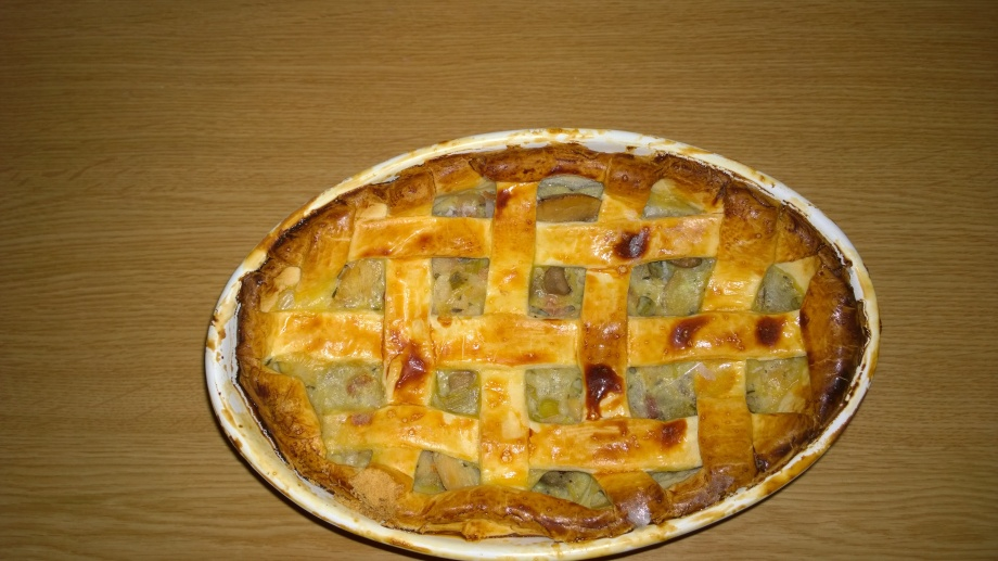 One leek, chicken and mushroom pie. The other is in my belly, so you'll get no picture of that one.